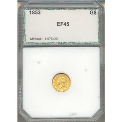 1853 $1 Liberty Head Gold Coin PCI EF45