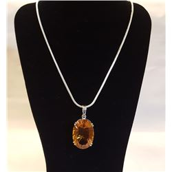 Sterling Silver 26.80ct Citrine Pendant with Chain