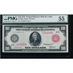 1914 $10 Red Seal St Louis Federal Reserve Note PMG 55