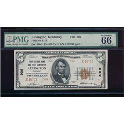 1929 $5 Lexington National Bank Note PMG 66EPQ