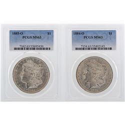 Lot of 1884-O & 1885-O $1 Morgan Silver Dollar Coins PCGS MS63