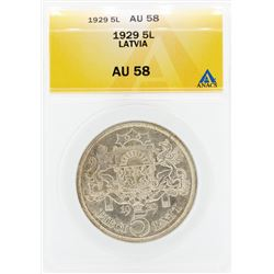 1929 Pieci 5 Lativia Coin ANACS AU58