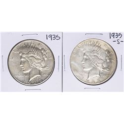Lot of 1935 & 1935-S $1 Peace Silver Dollar Coins