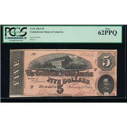 1864 $5 Confederate States of America Note PCGS 62PPQ