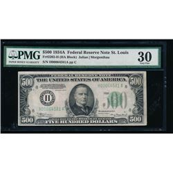 1934A $500 St Louis Federal Reserve Note PMG 30