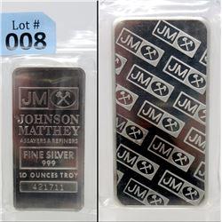 10 Oz. Johnson Matthey Full Logo Back Silver Bar