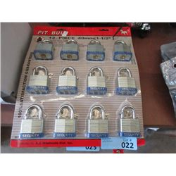 "12 New 1 1/2"" Laminated Pad Locks"