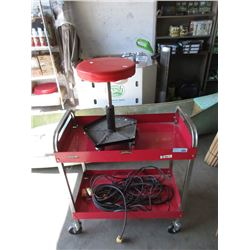 Rolling Cart, Mechanic Stool & 50ft Extension Cord