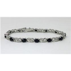 Ladies Diamond & Sapphire Tennis Bracelet