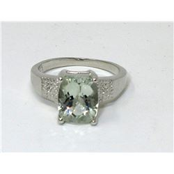 3.1 CT Green Amethyst & Diamond Solitaire Ring