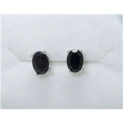 New 2 CT Sapphire Sterling Silver Stud Earrings