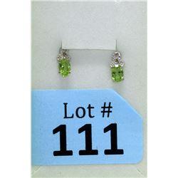 New Peridot & Diamond Sterling Silver Earrings