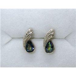New Ocean Blue Mystic Topaz & Diamond Earrings