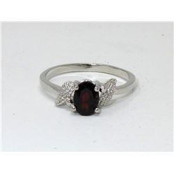 Garnet & Diamond Sterling Silver Solitaire Ring