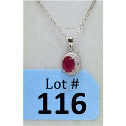 Ruby & Diamond Sterling Silver Pendant
