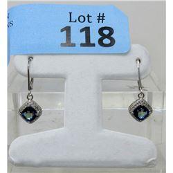 New Sterling Silver Topaz & Diamond Earrings