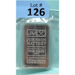 5 Oz. Johnson Matthey .999 Fine Silver 2-Sided Bar