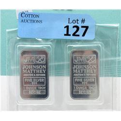 Two 1 Oz. Johnson Matthey .999 Fine Silver Bars