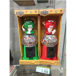 "2 New 12"" M&M""s Candy Dispenser Coin Banks"