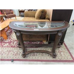 Ornate Glass Topped Half Moon Hall Table