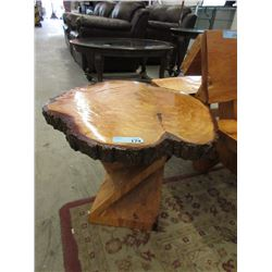 Hand Crafted Solid Wood Burl End Table