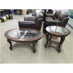 Ornate Glass Topped End Table and Coffee Table