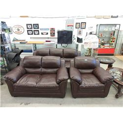 Brown Bonded Leather Sofa, Love Seat & Arm Chair