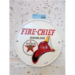 Cast Metal Texaco Fire Chief Sign w/ Raised Detail