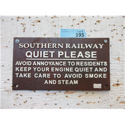 "Cast Metal Southern Railway ""Quiet"" Sign"