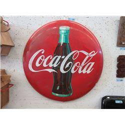 36 inch 1957 Coca- Cola Round Sheet Metal Button Sign
