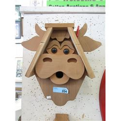 New Solid Wood Cow Design Bird House