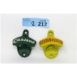 2 Cast Iron Bottle Openers - Castrol & Golden