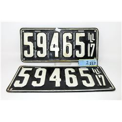 Rare Pair of 1917 Model T Slotted License Plates