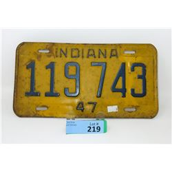 1947 Indiana License Plate