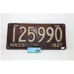 1927 Massachusetts License Plate