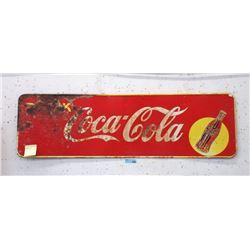 """1948 Coca-Cola Sheet Metal Sign - 17"""" x 55"""""""