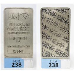 100Oz Johnson Matthey Stamped.999 SilverBar