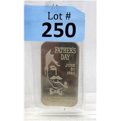1 Oz. 1982 Fathers Day Motif .999 Silver Bar