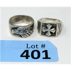 2 Men's Sterling Silver Rings - Size 10 and 11
