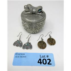 Pewter Haida Frog Box & 2 Pairs of Haida Earrings