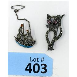 Two Vintage Sterling Silver & Marcasite Brooches