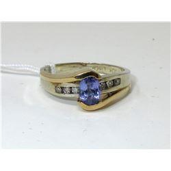 Modern 10KT Gold Tourmaline & Diamond Ring
