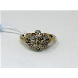 10KT Yellow Gold 15 Diamond Floral Cluster Ring