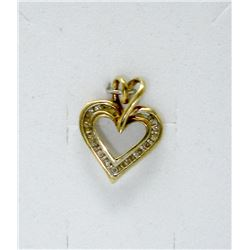 10KT Yellow Gold 16 Diamond Heart Pendant