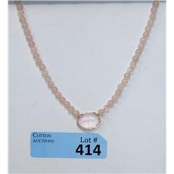 """16"""" Rose Quartz and Morganite Bead Necklace"""