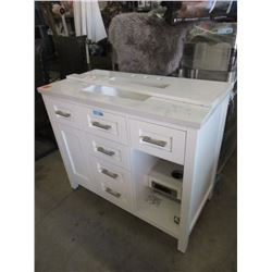White Cabinet w/ Electrical Plug Ins - Store return