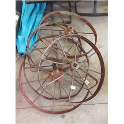 """5 Vintage  26"""" Metal Spoke Wheels"""