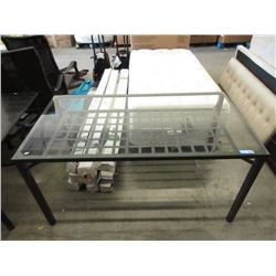 Metal Framed Glass Top Dining Table
