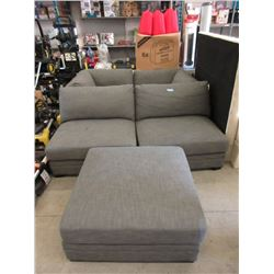 5 Piece Grey Fabric Upholstered Sectional