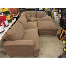 Fabric Upholstered Sectional with Large Ottoman
